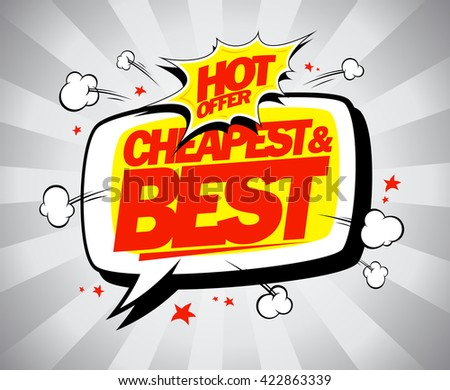Hot offer, cheapest and best. Sale vector illustration. - stock vector
