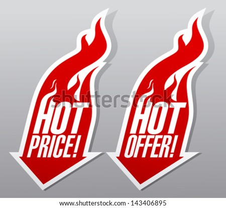 Hot offer,hot price fiery symbols. - stock vector