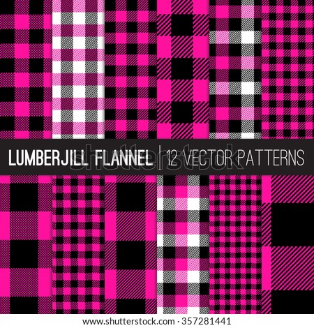 Hot Pink and Black Buffalo Check Vector Patterns. Lumberjill Flannel Plaid. Feminine Lumberjack Check. Trendy Hipster Style Backgrounds. Vector EPS File's Pattern Tile Swatches made with Global Colors - stock vector