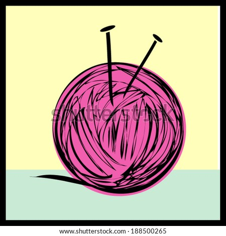 hot pink ball of yarn vector file illustration - stock vector