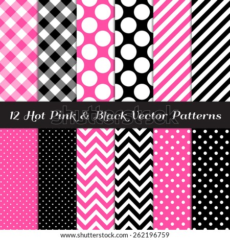 Hot Pink, Black and White Gingham, Chevron, Polka Dot and Candy Stripes Patterns. Modern Geometric Backgrounds. Vector EPS File Pattern Swatches made with Global Colors. - stock vector