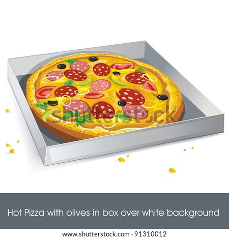 Hot Pizza with olives in box over white background. Abstract Elegance food. - stock vector