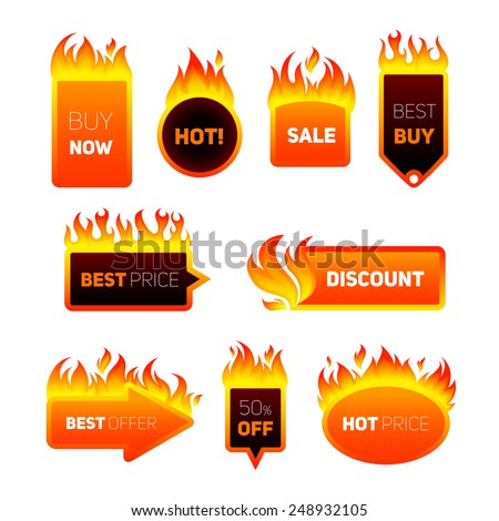 Hot price fire flame sale promotion discount badges set isolated vector illustration - stock vector