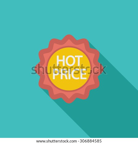 Hot Price icon. Flat vector related icon with long shadow for web and mobile applications. It can be used as - logo, pictogram, icon, infographic element. Vector Illustration. - stock vector