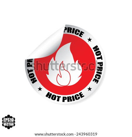 Hot Price Promotion Red Design Stickers, Labels, Tag And Icon With Fire Symbol - Vector Illustration.  - stock vector