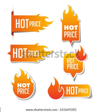 Hot Price Sales Labels - stock vector