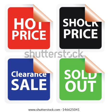 Hot price, Shock price, Clearance sale and Sold out stickers. Vector