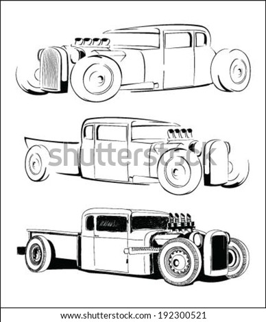 hot rod car vector sketch set - stock vector