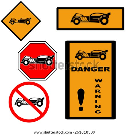 Hot rod style labels and signs set. Vector design elements - stock vector