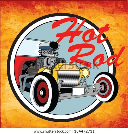 Hot rod vintage poster. Vector - stock vector