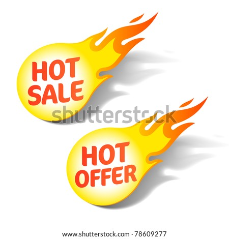Hot sale and hot offer signs - stock vector
