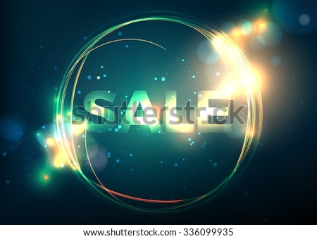hot sale circle banner with flame. Glitter bokeh blur background - stock vector
