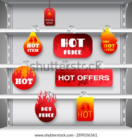 Hot sale clearance discount prices red  wobblers on empty department store display racks advertisement realistic vector illustration - stock vector