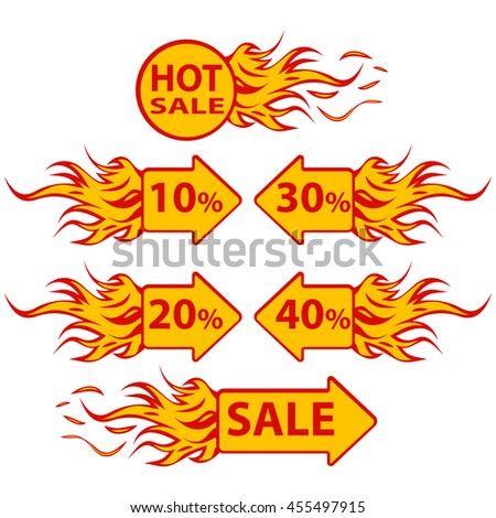 Hot Sale. Six vector illustrations.