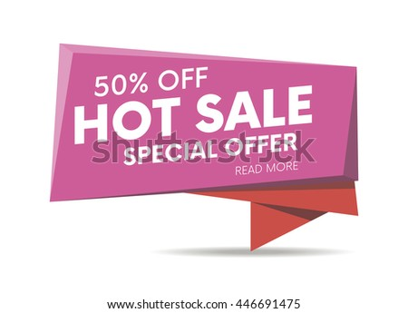 Hot sale, special offer web banner, poster and background. Vector illustration. Read more place.