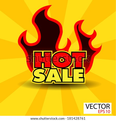 Hot sale sticker  with flames - stock vector