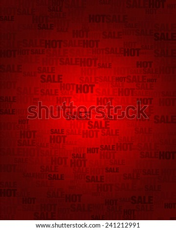 Hot Sale text on red gradient background in vector - stock vector