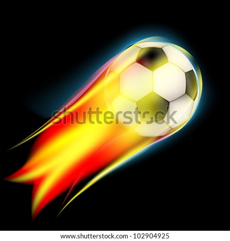 Hot soccer ball on the speed in fires flame - stock vector