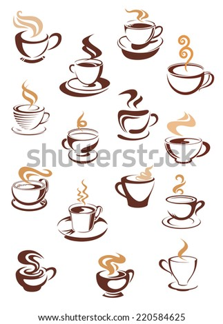 Hot steaming coffee cups beige and brown colored isolated on white background for beverage and cafe menu design - stock vector