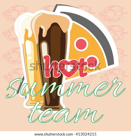 Hot Summer Beer Team. Two mugs glasses of beer and pepperoni pizza. Celebration time. Party together, have some fun with some drinks. Digital vector illustration. - stock vector