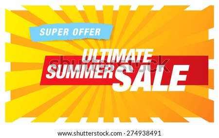 hot summer sale banner - stock vector