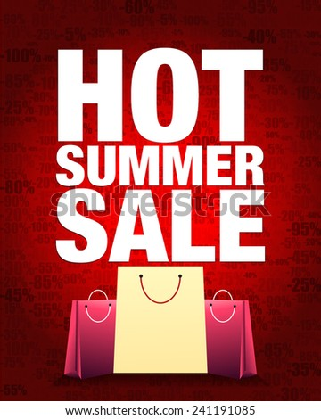 Hot summer sale design and shopping bag with percentage red gradient background. - stock vector