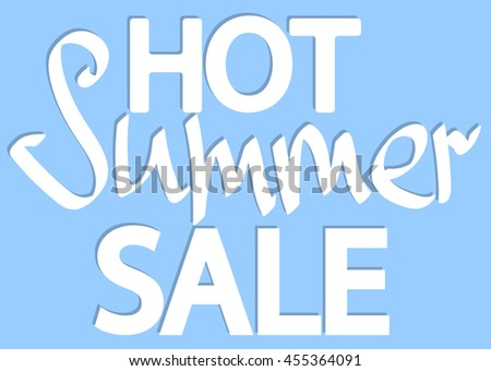 Hot Summer Sale, isolated phrase, words design template, calligraphy, vector illustration