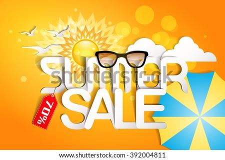 Hot Summer Sale Typography Paper Folding Design  - stock vector