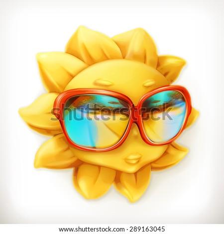 Hot summer sun, sunglasses, vector icon - stock vector
