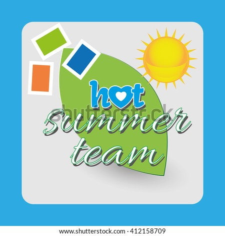 Hot summer team - sun and ecology. Green and yellow objects icon illustration. Lovely greeting card for summer holidays. Digital vector image. - stock vector