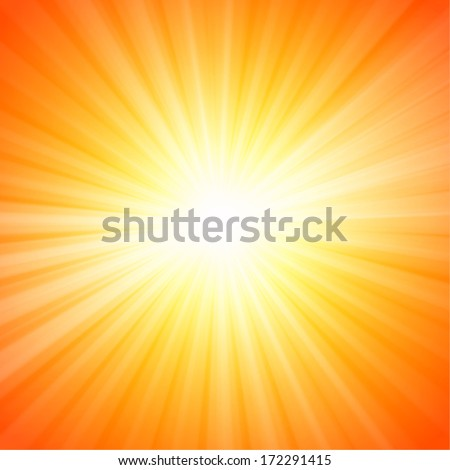Hot sun lights, abstract summer background - stock vector