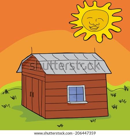Hot sun over cartoon barn with closed doors - stock vector