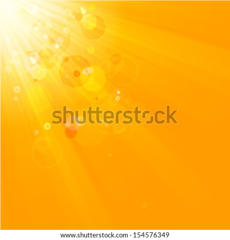 hot sun rays, natural orange background - stock vector