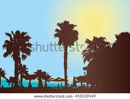 Hot sunny day at the tropical resort. Silhouette vector. Palm tree and sun. - stock vector
