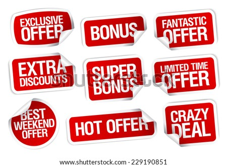 Hot super offer, sale stickers set.
