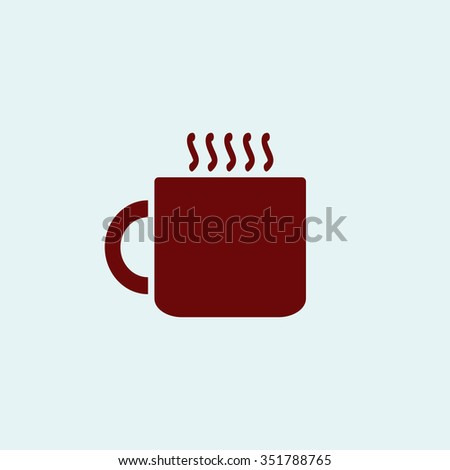 Hot tea cup. Red vector icon. Simple modern illustration pictogram. Collection concept symbol for infographic project and logo - stock vector