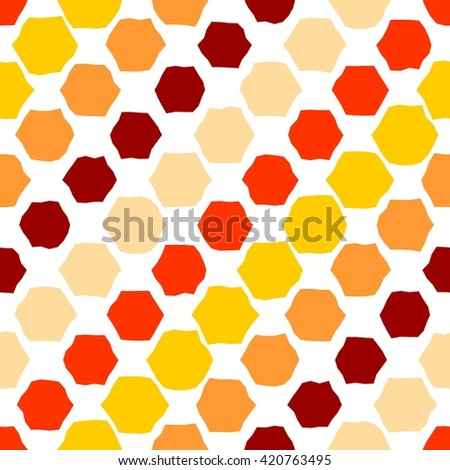 Hot tiles. Seamless pattern with hexagons on white - stock vector