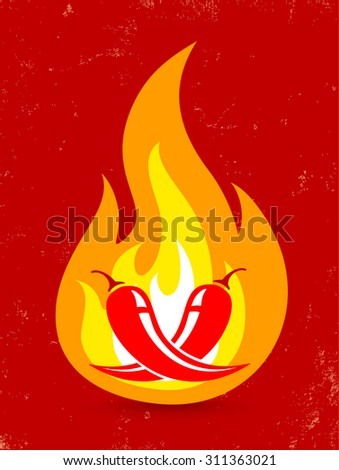 Hot two chili peppers in fire - stock vector