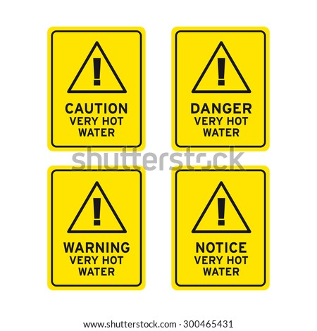 Hot water danger warning caution notice sign vector set