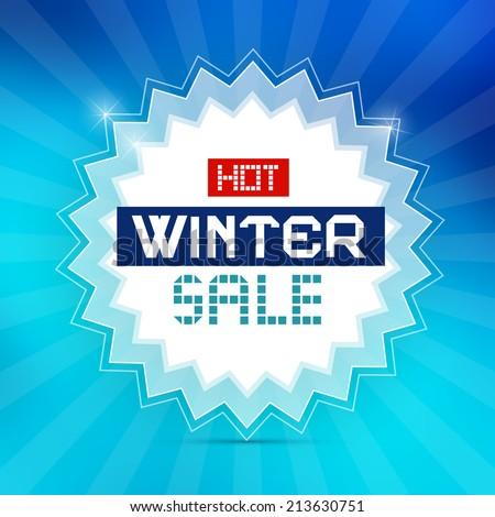 Hot Winter Sale Retro Blue Vector Background - stock vector