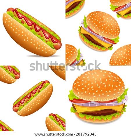 Hotdog and burger vector set, hamburger, cheeseburger, fast food - stock vector