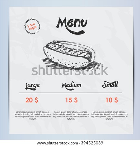 Hotdog menu - stock vector
