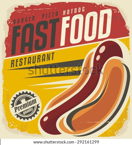 Hotdog retro poster design concept. Unique vector template for delicious fast food. Restaurant menu cover. Package design layout for take out food on old paper texture.  - stock vector