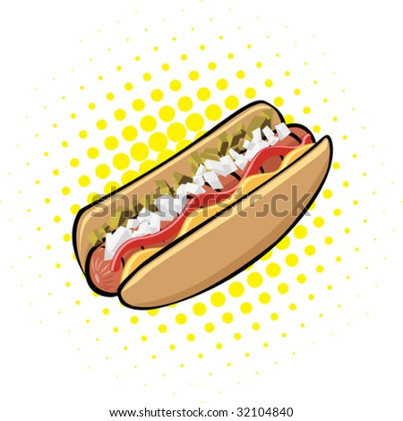 Hotdog with ketchup, mustard, relish and onions. All toppings can be manipulated or removed. - stock vector