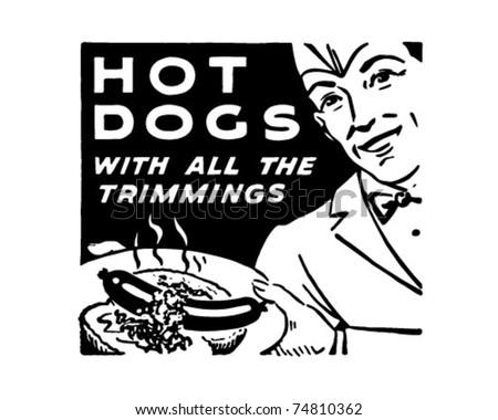 Hotdogs 3 - Retro Ad Art Banner - stock vector
