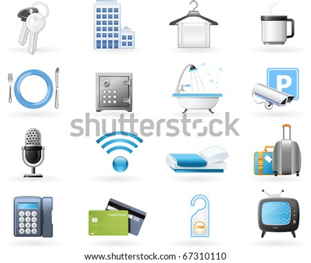 Hotel accommodation amenities - stock vector