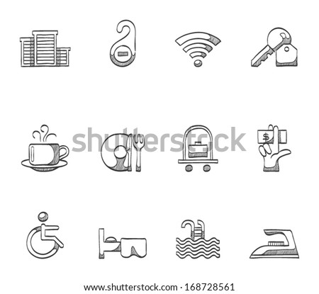 Hotel & accommodation icons in sketches - stock vector