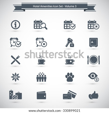 Hotel Amenities Icon set 3 out of 3 - stock vector