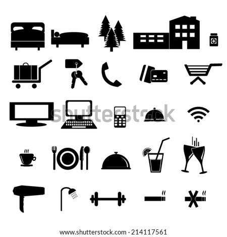 Hotel and accommodation black&white icons.   - stock vector