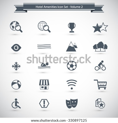 Hotel and Hotel Amenities Services Icons. Professional icons for print or Web. EPS10 vector. - stock vector